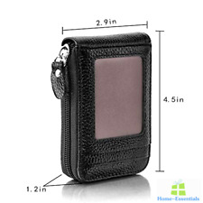 RFID Blocking Credit Card Holder Leather Case Womens ID Wallet With Zipper Small