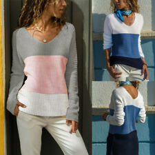 Fashion Ladies Stitching Sweater V-neck Knit Loose Jumper Autumn Pullover