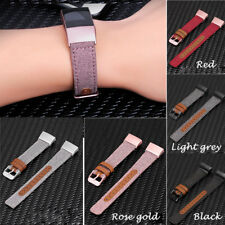 Replacement Canvas+Leather Watch Band Bracelet Wrist Strap For Fitbit Charge 3