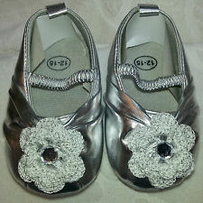 NEW FAUX LEATHER SILVER SHOEs ROSE 3 6 9 12 18 Months GIRLs BABY INFANT TODDLER