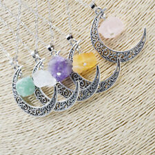 Alloy moon Natural crystal semi-precious stone Jewelry Pendant Necklaces