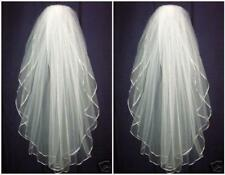 Hot 2 Layer White Wedding Veil Bridal Veils Satin Edge With Comb
