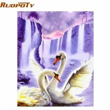RUOPOTY Frame Swan Animals DIY Painting By Numbers Wall Art Picture Acrylic