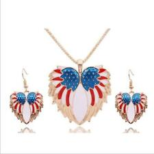 New Jewelry Sets Earrings Necklace Resin Bohemia Drip  Wings Stars and Stripes