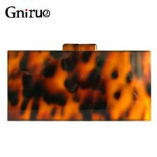 Clutches Bag Fashion Design Leopard Pattern Acrylic Tortoiseshell Print Evening