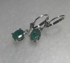 Sterling Silver Oval Cut Natural Emerald Dangle Lever Back Earrings 1.25TCW~