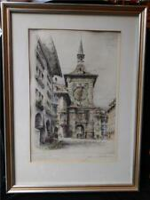 1930 Colored Etching Germany Artist Proof Signed by Paul Geissler Framed Matted
