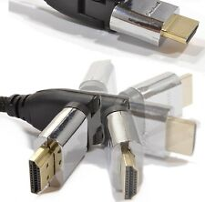 HDMI SWIVEL GOLD CABLE 1.4 90 Degree Angle Angled BENT Head Bluray 3DTV Xbox