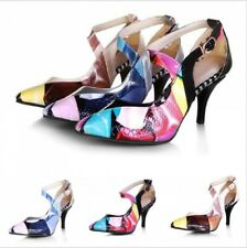 New Womens Stylish Pointy Toe Splice Color Hollow Buckle High Heels Casual Shoes