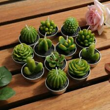 12pcs Mini Set Cactus Candle Cute Artificial Succulent Plant Candle Home Decor