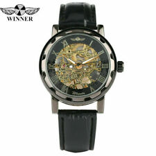 Winner Mens Mechanical Hand Winding Wrist Watch Sport Army Leather Band Reloj
