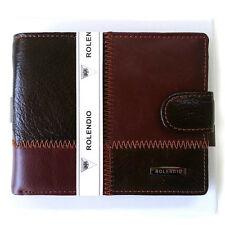 NEW Button Lock Wallet Luxury Brown Men's Wallet ID Card Coin Wallet