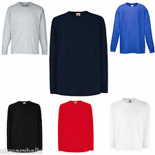 FRUIT OF THE LOOM CHILDS LONG SLEEVE T SHIRT ALL SIZES