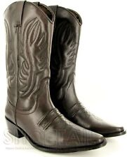 MENS CALF LENGTH LEATHER COWBOY BOOTS BROWN Size 6-11