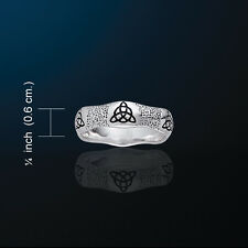 Triquetra Wavy Band Ring- Charmed Symbol White Bronze
