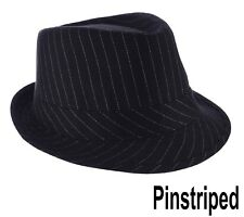 FEDORA TRILBY WEDDING HAT Pin Striped Pinstripe BLACK Toddler Kids Adults XXS L