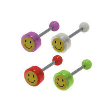 Smiley Face Logo Barbell Tongue Ring