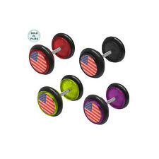 Pair of Fake/Cheater American Flag Acrylic 14 Gauge Ear Plugs - 4 Colors Avail