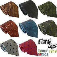 Floral Fashion Mens Ties with Flowers or Leaves Made in UK Mans