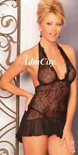 Admcity Lace Sheer Halter Ruffle Chemise with G-String