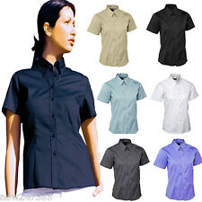 Ladies Pinpoint Oxford Shirt Short Sleeve Wrinkle Free Size UK 8 to 24 Plus
