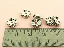 10 x AAA CLEAR CZ Crystal Rhinestone RONDELLE Spacer BEAD Cap ~6mm/ 8mm/ 10mm~