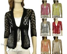 Ladies Crochet Lace Cardigan Long Sleeved Knit Top Jacket Jumper Bolero 6-10 NEW