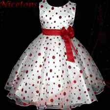 Reds Marriage Party Bridesmaid Flowers Girls Dress 3-8Y