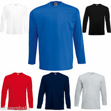 FRUIT OF THE LOOM LONG SLEEVE 100% COTTON T SHIRT S-XXL