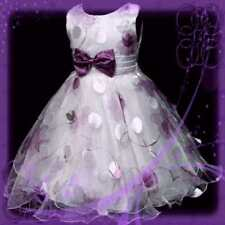 Rose Purples Christmas Party Girls Dresses 3-4-5-6-7-8Y