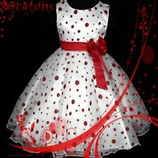 Reds Dotted Spring / Summer Girls Dress SZ 3-4-5-6-7-8Y