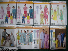 SIMPLICITY TODDLER CHILD TEEN MENS WOMENS PAJAMAS ROBE GOWN 29 STYLES U PICK 1