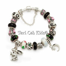 Charm Bracelet European Murano & Lampwork Beads * Guess How Much I Love You *
