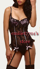 H198  Sexy Straps Lingerie Full See-through Lace Corset Busiter,Black S,M,L,XL