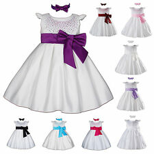 New Baby Satin Christening Party Dress with Matching Headband