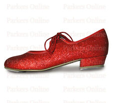 NEW ROCH VALLEY GLITTER EFFECT TAP SHOES LOW HEEL SIZE CHILDRENS 5-10 RUBY RED