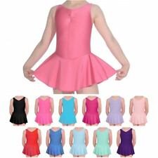 NEW BALLET DANCE LEOTARD WITH ATTATCHED SKIRT FROM 2-6 YEARS PINK BLUE AND MORE