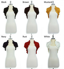 Plain Solid Bolero with Ruffle and Shirring Detail VARIOUS COLOR AND SIZE