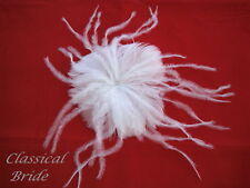 #800 OSTRICH FEATHER FASCINATOR HAIR CLIP In Ivory or White, birdcage veil comb