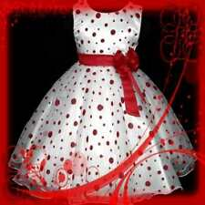 R3117 04NOV-NT  Reds Dotted Christmas Party Flower Girls Dress SIZE 3-4-5-6-7-8T