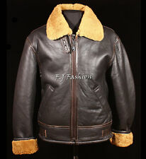 Men's B3 Brown Ginger RAF WW2 Real Shearling Sheepskin Bomber Leather Jacket