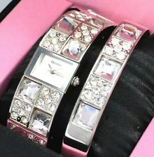Henley Ladies Real Crystal Silver Tone Watch OR Watch & Bangle Gift Set SLIMLINE