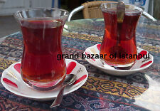 Turkish Tea Cups Saucers Spoons Pasabahce, Glass or Metallic, Different Sizes