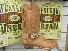 LOBLAN 2476 Tan Cafe Cebada Leather Mens Cowboy Boots Classic Hand Made Western