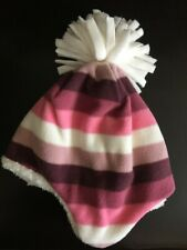 NWT GAP Soft Fleece Pink Multistripe Stripe pom-pom Winter Hat NEW Fleece Lined