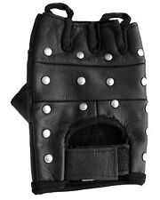 LEATHER BIKER GLOVES FLAT STUDDED SOFT LEATHER FINGERLESS NEW GREAT GIFT