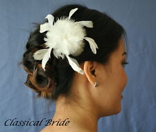 #900 PEARL FEATHER FASCINATOR HAIR CLIP In Ivory / White, birdcage blusher veil