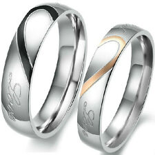 Size 5-15 Heart Wedding Ring Set Engagement Pair Stainless Steel Anniversary