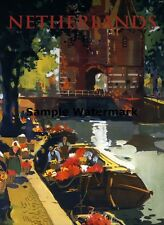 NETHERLANDS Holland Flower Vendor Boat FINE Vintage Travel Poster Repo FREE S/H