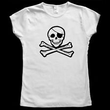 Jolly Roger Skull and Bones Pirate Women's Graphic Baby Doll T shirt S - 2XL